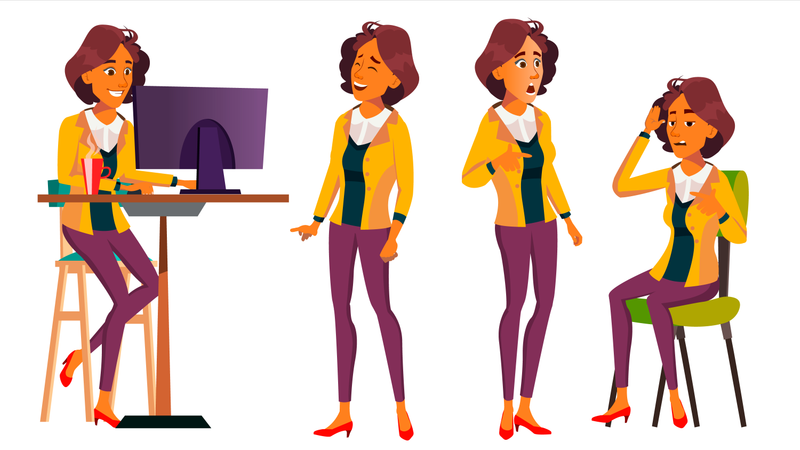 Office Worker Vector. Woman. Smiling Servant, Officer. Poses. Business Human. Front, Side View. Lady Face Emotions, Various Gestures. Isolated Flat Cartoon Character Illustration Illustration