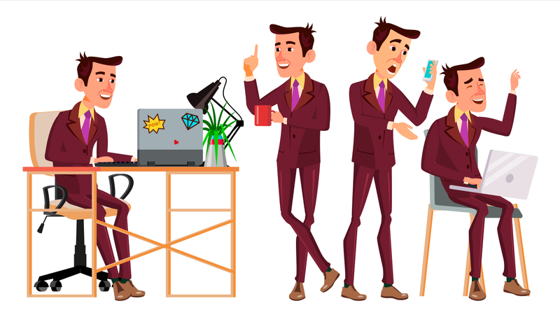 Office Worker With Working Gesture Illustration
