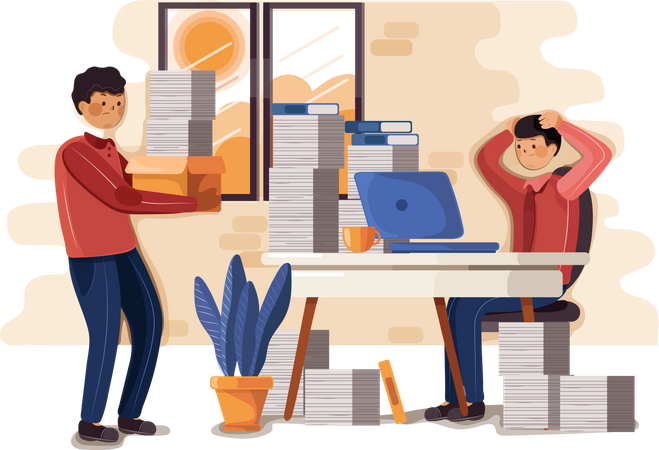 Office worker with workload Illustration