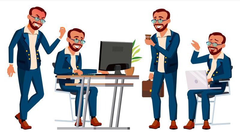 Office Worker Working Gestures Illustration