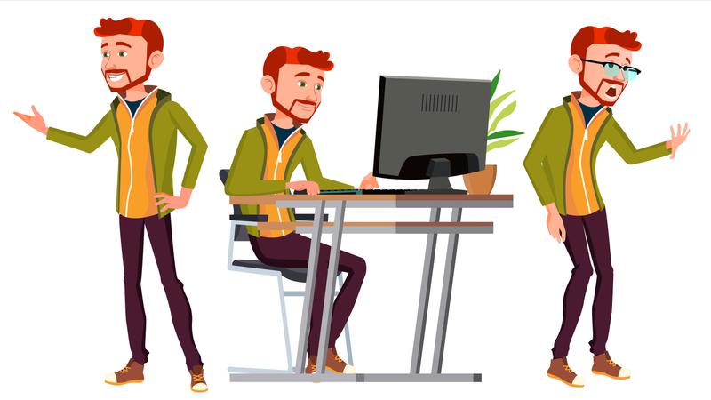 Office Worker Working In Office On Desk Illustration