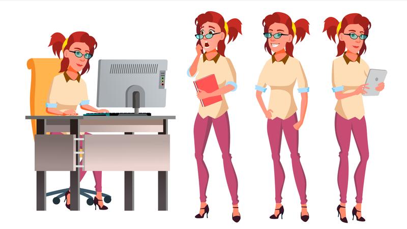 Office Worker Working On Desk Illustration