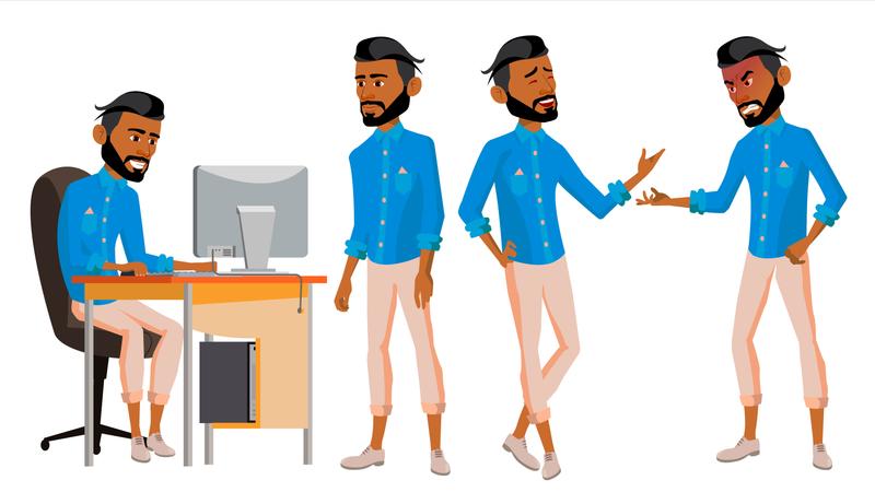 Office Worker Working On Desk In Office Illustration