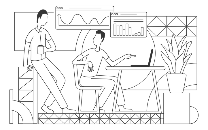 Office workers analyzing business statistics Illustration