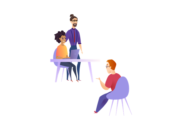 Office workers doing discussion on work progress Illustration