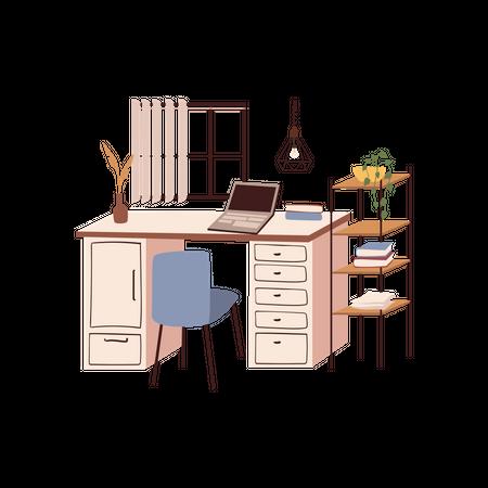 Office Working Desk Illustration
