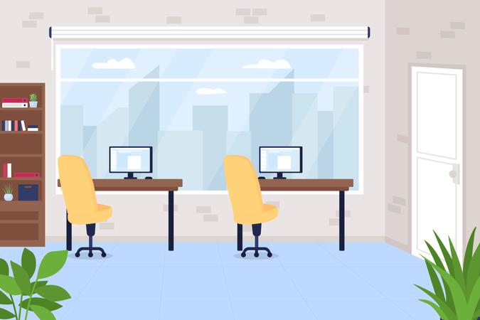 Office workspace Illustration