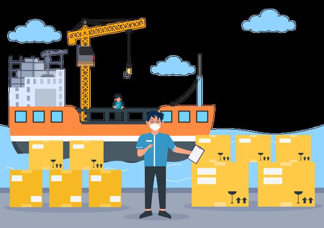 Officer checking cargo shipments Illustration