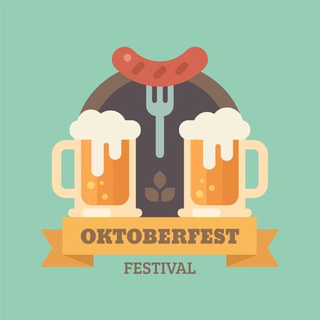 Oktoberfest beer festival Illustration