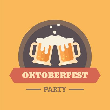 Oktoberfest beer festival flat illustration badge Illustration