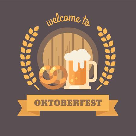 Oktoberfest beer festival flat illustration banner Illustration