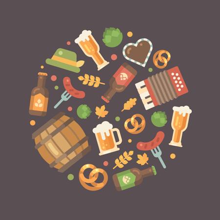 Oktoberfest essentials arranged in a circle Illustration