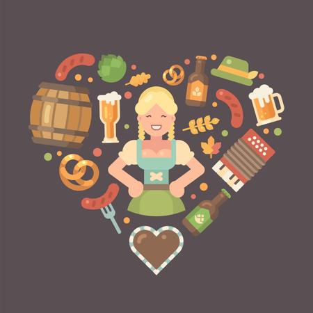 Oktoberfest flat icons arranged into heart around beer maid in dirndl dress Illustration
