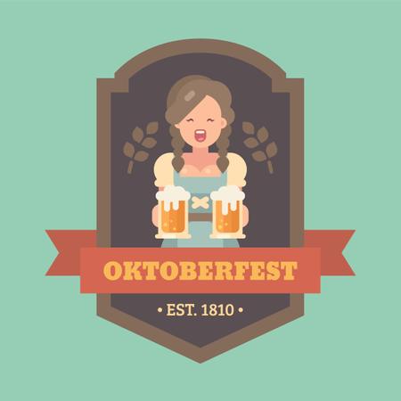 Oktoberfest flat illustration badge with beer maid holding two beer mugs Illustration