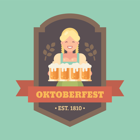 Oktoberfest flat illustration badge with blonde beer maid holding four beer mugs Illustration