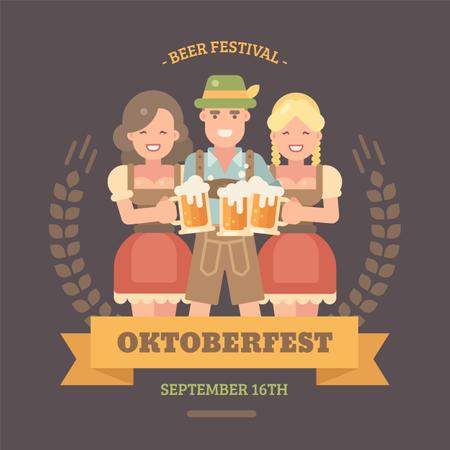 Oktoberfest flat illustration banner Illustration