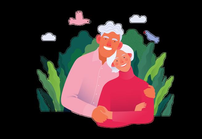 Old aged couple Illustration