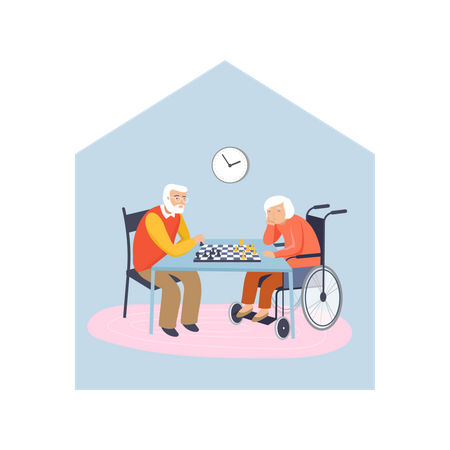 Old aged couple playing chess Illustration
