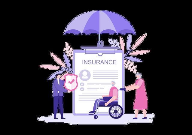 Old aged insurance Illustration