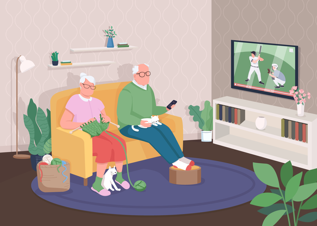 Old couple at home Illustration