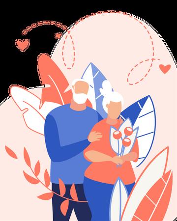 Old Couple Love Illustration
