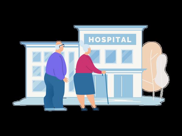 Old couple visiting hospital Illustration