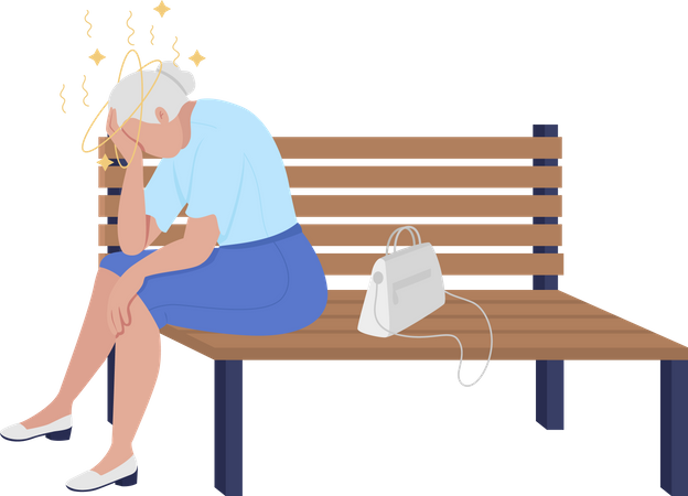 Old lady feeling dizzy Illustration