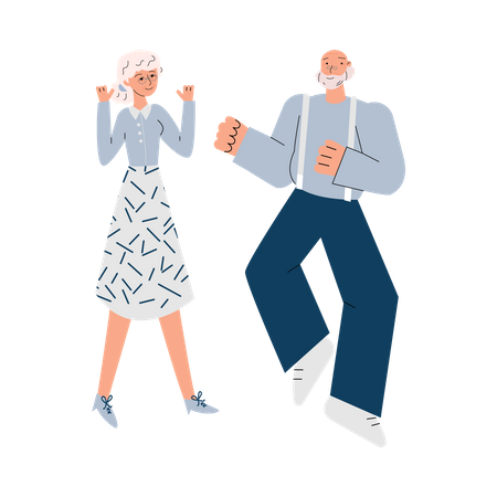 Old man and woman dancing Illustration
