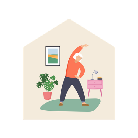 Old man doing exercise in the home Illustration