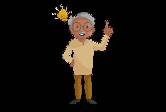 Old man having an idea in mind Illustration