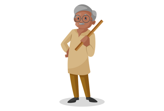 Old man holding stick in hand Illustration
