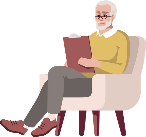 Old man in armchair with clipboard Illustration