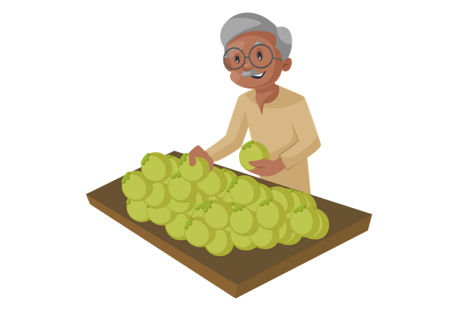Old man purchasing fruits or vegetables from a street stall Illustration
