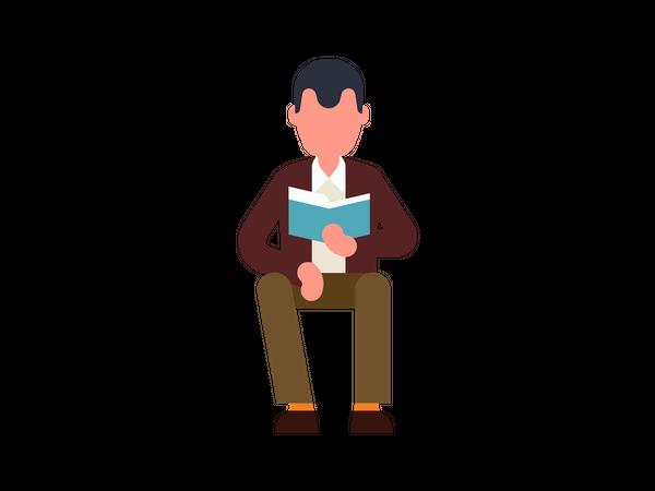 Old man reading book Illustration