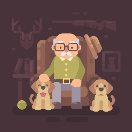 Old Man Resting In Armchair With His Two Dogs Illustration