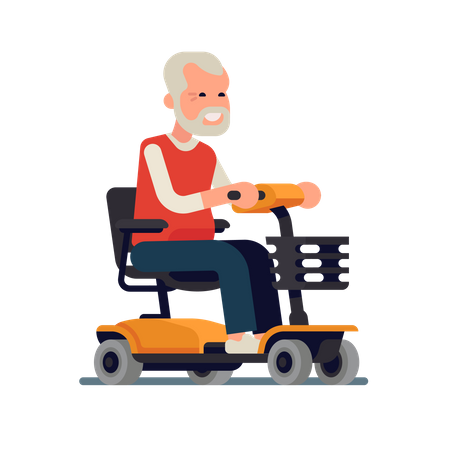 Old man riding a power chair with joystick controller on armrest Illustration