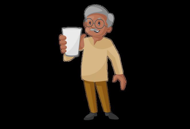 Old man showing Glass Illustration