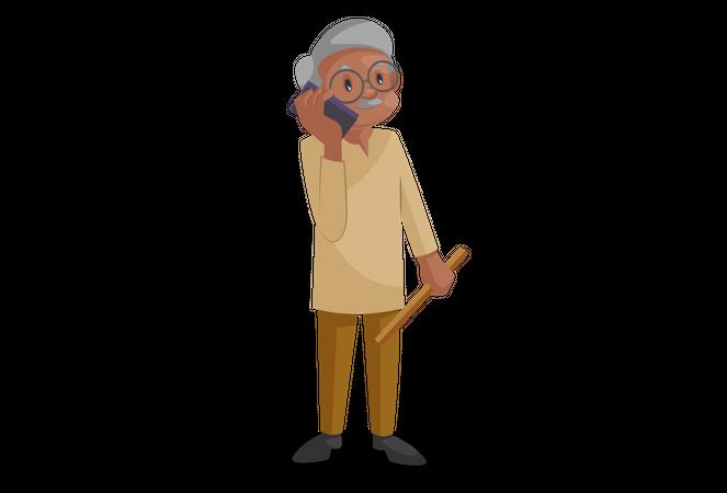 Old man talking on the phone Illustration