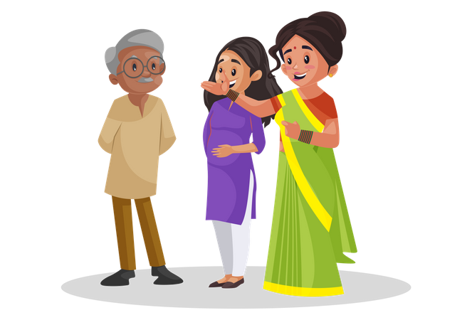 Old man talking with two ladies and hearing their problems Illustration