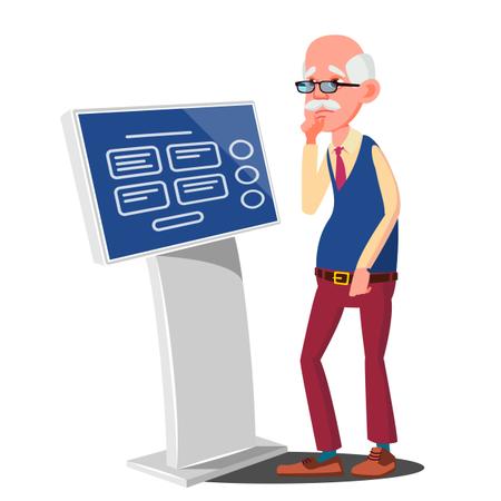 Old Man Using ATM, Digital Terminal Vector Illustration