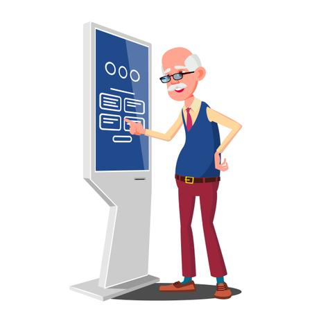 Old Man Using ATM Machine Illustration