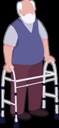 Old man using walker Illustration