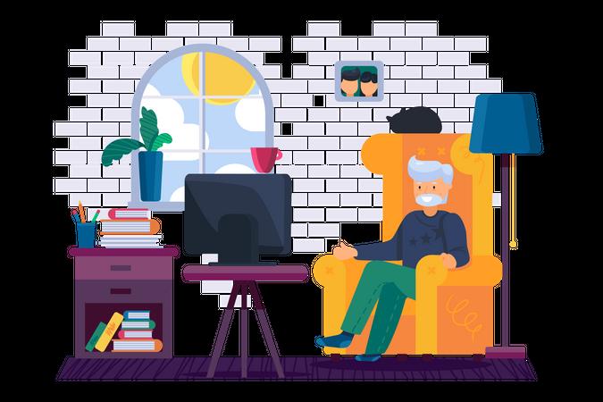 Old man watching tv Illustration