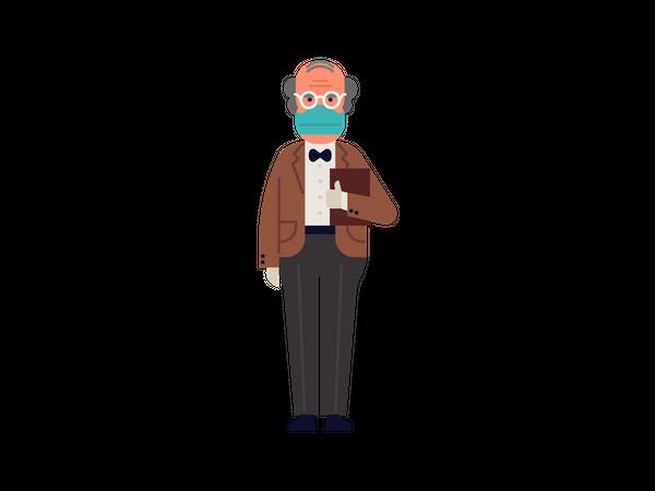 Old man wearing mask and gloves Illustration