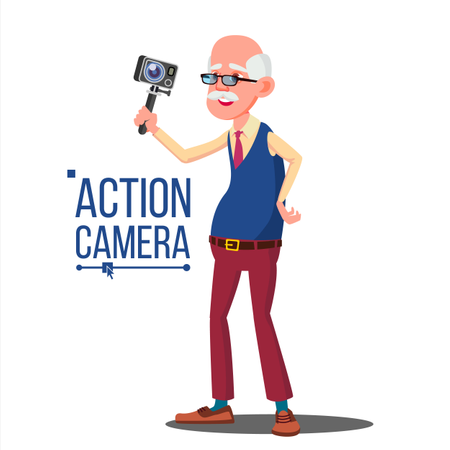 Old Man With Action Camera Illustration