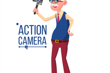 People With Action Camera Vector Illustration Pack