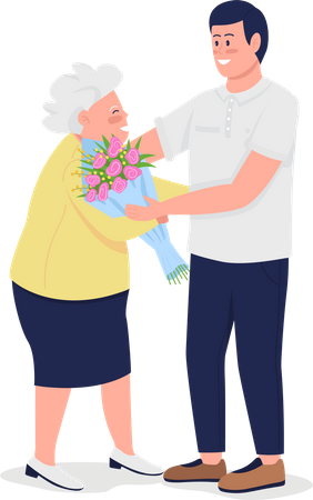 Old mother with adult son Illustration
