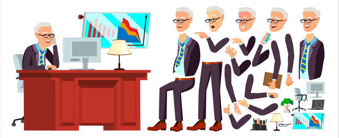 Old Office Worker Vector. Face Emotions, Various Gestures. Animation. Businessman Human. Modern Cabinet Employee, Workman, Laborer. Isolated Flat Cartoon Character Illustration Illustration