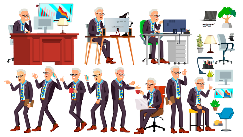 Old Office Worker Vector. Face Emotions, Various Gestures. Business Man. Professional Cabinet Workman, Officer, Clerk. Isolated Cartoon Character Illustration Illustration