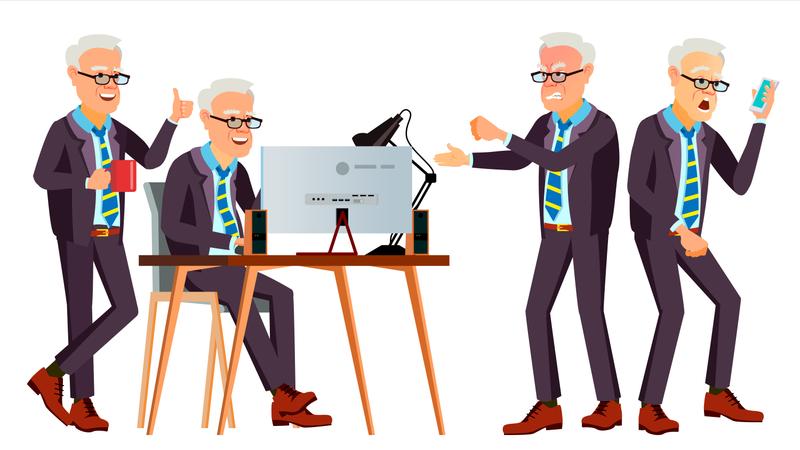 Old Office Worker Vector. Face Emotions, Various Gestures. Business Worker. Career. Professional Workman, Officer, Clerk. Flat Cartoon Illustration Illustration